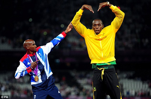 Farah and Usain Bolt share a moment during medal presentations during the euphoria of London 2012