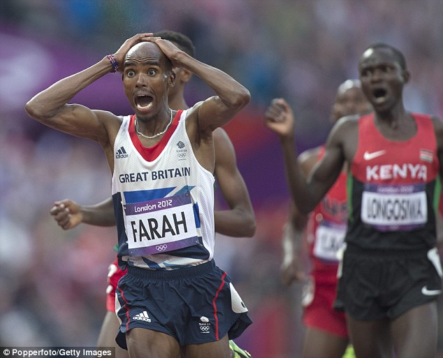 An overjoyed Farah crosses the line to win the 5,000m title to complete a long-distance Olympic double
