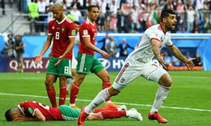 Image result for morocco lost to iran pictures