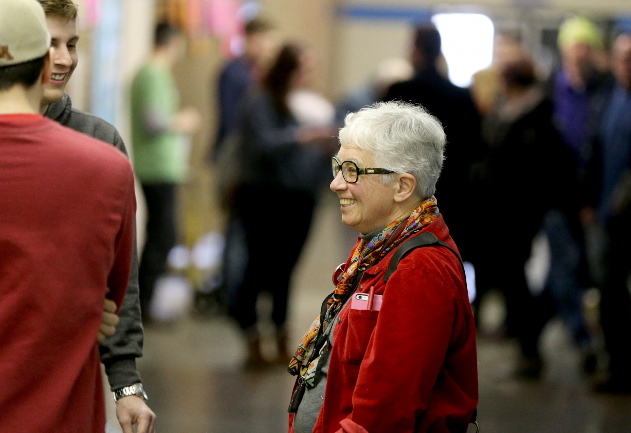 DFL Rep. Phyllis Kahn spoke with delegates in a hallway at Northeast Middle School prior to the start of the DFL endorsing convention Saturday, April 9, 2016, in Minneapolis, MN.](DAVID JOLES/STARTRIBUNE)djoles@startribune.com DFL Rep. Phyllis Kahn, the longest serving member of the Minnesota Legislature, faces two insurgent DFL challengers from the Somali community. Her endorsement battle Saturday could be the end of her political career if she loses. She has said she will not run in a primary in the DFL stronghold, which means Minnesota would likely have its first Somali-American legislator.