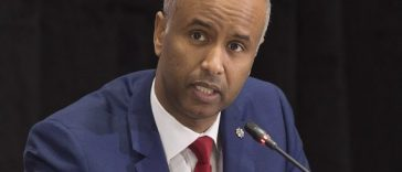 Immigration Minister Ahmed Hussen fields questions at the closing news conference at a meeting of Atlantic Canada premiers and several federal ministers to discuss the Atlantic Growth Strategy, in Wolfville, N.S. on Friday, Jan. 27, 2017. THE CANADIAN PRESS/Andrew Vaughan